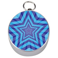Abstract Starburst Blue Star Silver Compasses by Jojostore