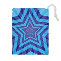 Abstract Starburst Blue Star Drawstring Pouch (xl) by Jojostore