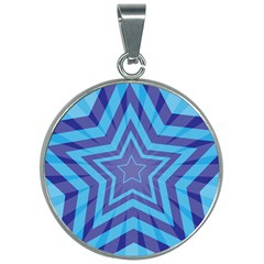 Abstract Starburst Blue Star 30mm Round Necklace