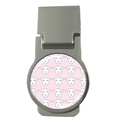 Sheep Wallpaper Pattern Pink Money Clips (round)