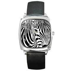 Animal Cute Pattern Art Zebra Square Metal Watch by Jojostore