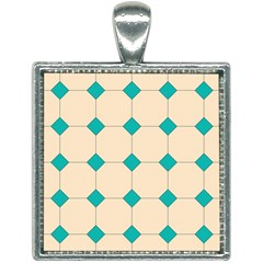 Tile Pattern Wallpaper Background Square Necklace