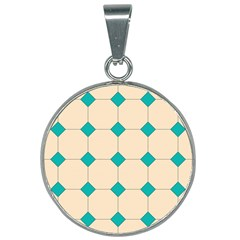 Tile Pattern Wallpaper Background 25mm Round Necklace