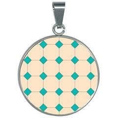 Tile Pattern Wallpaper Background 30mm Round Necklace
