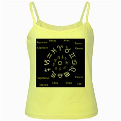 Astrology Chart With Signs And Symbols From The Zodiac, Gold Colors Yellow Spaghetti Tank