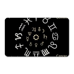 Astrology Chart With Signs And Symbols From The Zodiac, Gold Colors Magnet (rectangular)