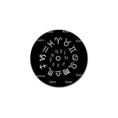 Astrology Chart With Signs And Symbols From The Zodiac, Gold Colors Golf Ball Marker (4 Pack) by Jojostore