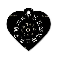 Astrology Chart With Signs And Symbols From The Zodiac, Gold Colors Dog Tag Heart (two Sides)