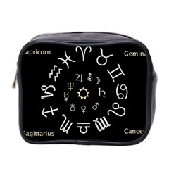 Astrology Chart With Signs And Symbols From The Zodiac, Gold Colors Mini Toiletries Bag (two Sides)