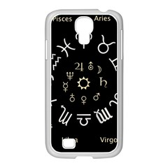 Astrology Chart With Signs And Symbols From The Zodiac, Gold Colors Samsung Galaxy S4 I9500/ I9505 Case (white)