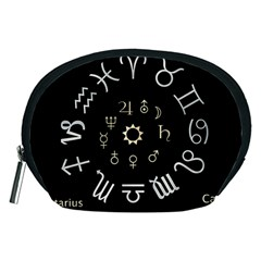 Astrology Chart With Signs And Symbols From The Zodiac, Gold Colors Accessory Pouch (medium)