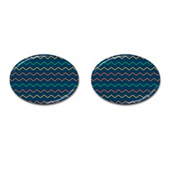 Pattern Zig Zag Colorful Zigzag Cufflinks (oval)