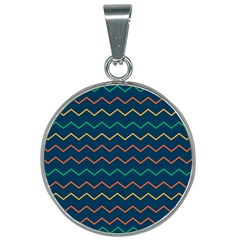 Pattern Zig Zag Colorful Zigzag 25mm Round Necklace by Sapixe