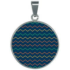 Pattern Zig Zag Colorful Zigzag 30mm Round Necklace by Sapixe