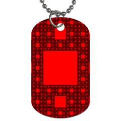 Red Sierpinski Carpet Plane Fractal Dog Tag (one Side)