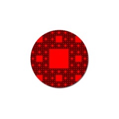Red Sierpinski Carpet Plane Fractal Golf Ball Marker