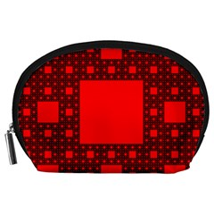 Red Sierpinski Carpet Plane Fractal Accessory Pouch (large) by Sapixe