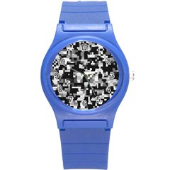 Noise Texture Graphics Generated Round Plastic Sport Watch (s)