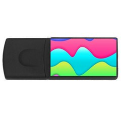 Lines Curves Colors Geometric Lines Rectangular Usb Flash Drive by Sapixe