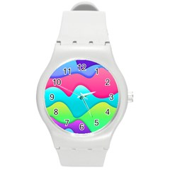Lines Curves Colors Geometric Lines Round Plastic Sport Watch (m) by Sapixe