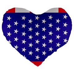 Day Independence July Background Large 19  Premium Flano Heart Shape Cushions