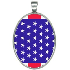 Day Independence July Background Oval Necklace by Sapixe
