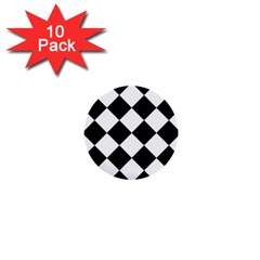 Grid Domino Bank And Black 1  Mini Buttons (10 Pack)  by Sapixe