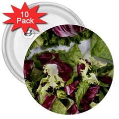 Salad Lettuce Vegetable 3  Buttons (10 Pack)  by Sapixe