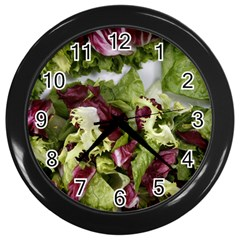 Salad Lettuce Vegetable Wall Clock (black) by Sapixe