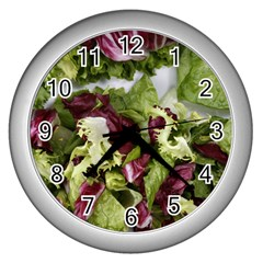 Salad Lettuce Vegetable Wall Clock (silver) by Sapixe