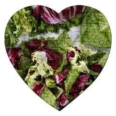 Salad Lettuce Vegetable Jigsaw Puzzle (heart) by Sapixe