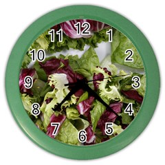 Salad Lettuce Vegetable Color Wall Clock by Sapixe