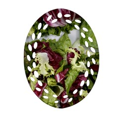 Salad Lettuce Vegetable Oval Filigree Ornament (two Sides) by Sapixe