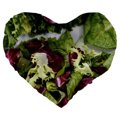 Salad Lettuce Vegetable Large 19  Premium Flano Heart Shape Cushions by Sapixe