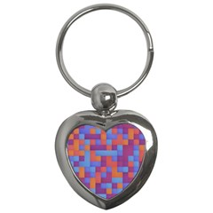 Squares Background Geometric Modern Key Chains (heart)