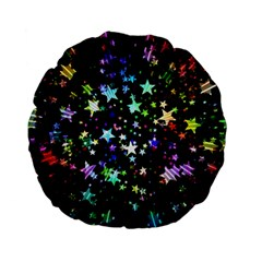 Christmas Star Gloss Lights Light Standard 15  Premium Flano Round Cushions by Sapixe