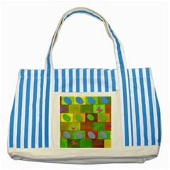 Easter Egg Happy Easter Colorful Striped Blue Tote Bag by Sapixe