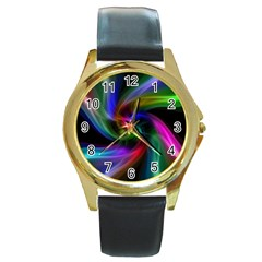 Abstract Art Color Design Lines Round Gold Metal Watch
