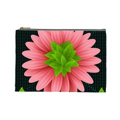 Plant Flower Flowers Design Leaves Cosmetic Bag (large)