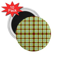 Geometric Tartan Pattern Square 2 25  Magnets (10 Pack)