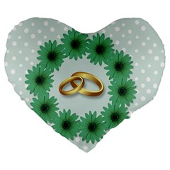 Rings Heart Love Wedding Before Large 19  Premium Flano Heart Shape Cushions by Sapixe