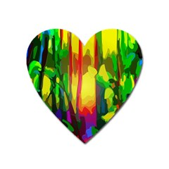 Abstract Vibrant Colour Botany Heart Magnet by Sapixe