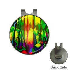 Abstract Vibrant Colour Botany Hat Clips With Golf Markers by Sapixe