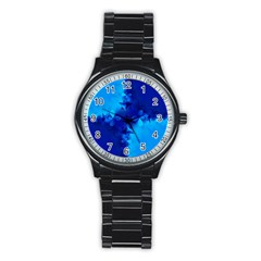 Background Course Gradient Blue Stainless Steel Round Watch by Sapixe