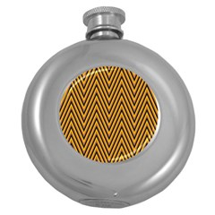 Chevron Brown Retro Vintage Round Hip Flask (5 Oz) by Sapixe