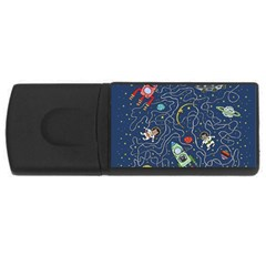 Cat Cosmos Cosmonaut Rocket Rectangular Usb Flash Drive