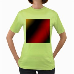 Rainbow Two Background Women s Green T Shirt