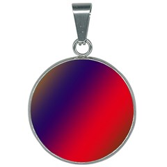 Rainbow Two Background 25mm Round Necklace