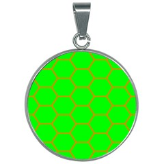 Bee Hive Texture 30mm Round Necklace