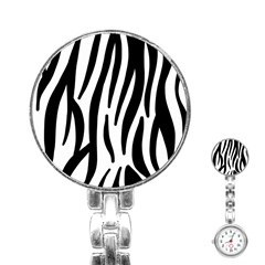 Seamless Zebra A Completely Zebra Skin Background Pattern Stainless Steel Nurses Watch by Jojostore